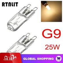 10 sztuk/partia G9 25W ciepłe białe żarówki halogenowe 3000 3500K Globe 230V 240V kapsułka jasne żarówki lampy 360 stopni oświetlenie domu