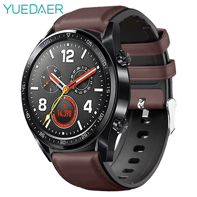 YUEDAER Top PU Leather Wrist Strap For Xiaomi Amazfit GTR 47 47MM Stratos 2 3 Pace Band For Huawei Watch GT 2 GT2 Watchband