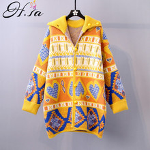 H.SA 2019 Women Long Sweater and Cardigans Long Sleeve Warm Retro Vintage Jacquard Sweater Coat Sweater Warm Thick Knit Jacket