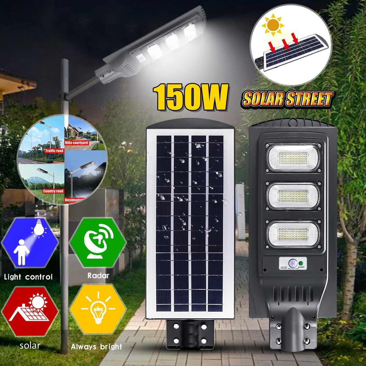 Smuxi 150W LED 3030 High-brightness Chip LED Solar Street Light Outdoor Lighting Security Lamp Motion Sensor Street Lamp