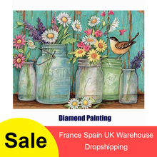 5D Diamond Painting Daisy Flowers Paints by Numbers Frameless DIY 11.8x15.7 Oil Canvas