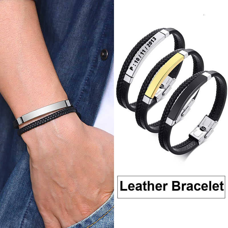 "Custom Name Double Braided Mens Leather Bracelet Black Personalized Constellation Coordinate Male Fashion Wristband 7.7"" 8.3"""
