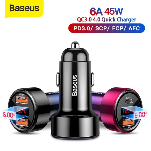 Baseus 45W Auto Ladegerät Dual USB Typ C Handy Ladegerät Metall Auto Lade QC 3,0 4,0 Schnell Ladung für iPhone Samsung Huawei