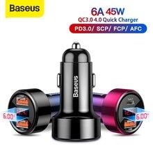 Chargeur de voiture Baseus 45W double USB Type C chargeur de téléphone portable métal voiture Charge QC3.0 4.0 Charge rapide pour iPhone Samsung Huawei