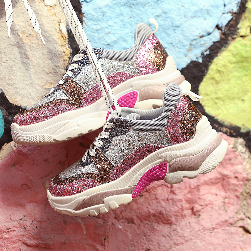 Women Glitter Platform Sneakers Breathable Cross tied Sequins Lady Chunky Vulcanized Shoes Triple S Travel Bling Footwear
