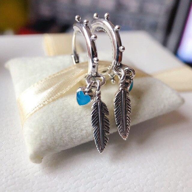 Silver Earrings Real 925 Sterling Silver Big Heart CZ Zircon Round Hoop Earrings for Women Fashion Silver Earring Jewelry Gift 6