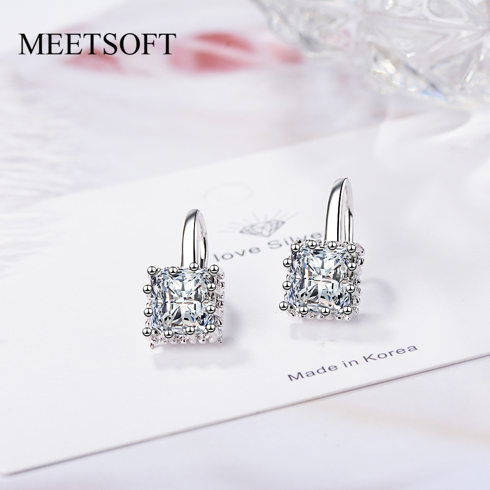 MEETSOFT 925 Sterling Silver Prevent Allergy Hoop Earrings for Women Trendy Small Square Crystal Jewelry Gift