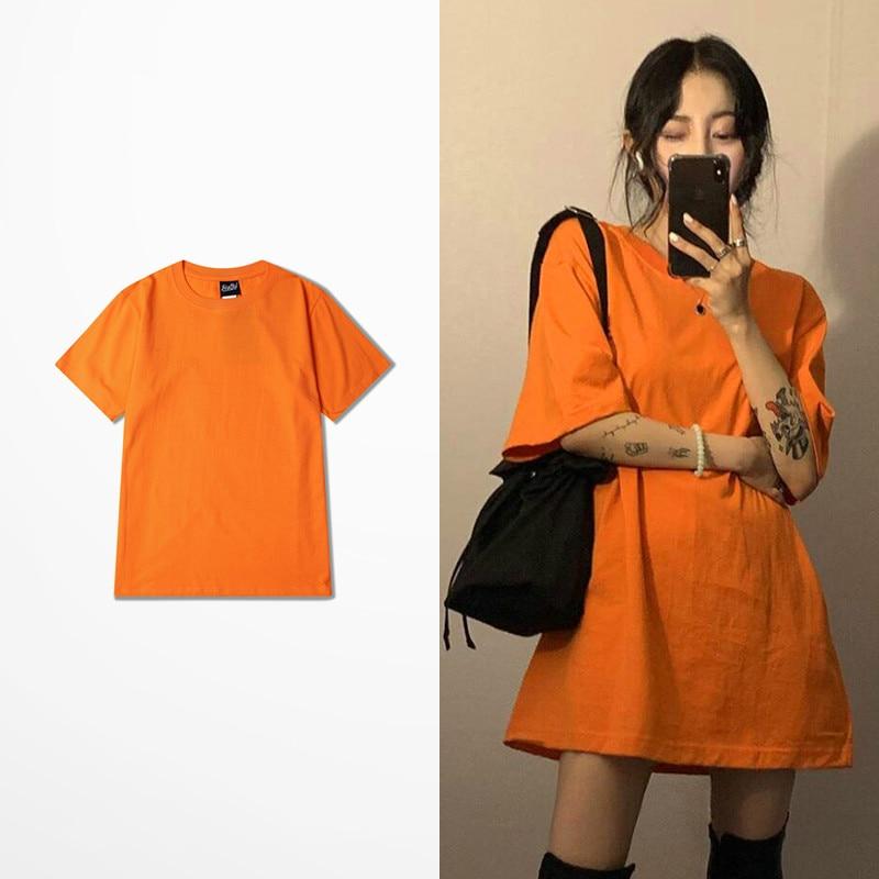 Korean Fashion Tshirt Male High Street Dark Souls T-Shirt Men Women Orange Color Vintage Retro Tops Tee Lovers Couple T Shirt