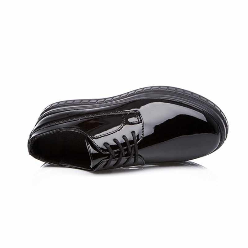 ความสูงเพิ่มขึ้น 9 ซม.สีขาวรองเท้าสตรี Lace Up รอบ Toe Platform รองเท้าฤดูใบไม้ผลิฤดูใบไม้ร่วงรองเท้าส้นสูงรองเท้า 33-39