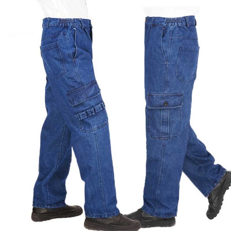 Fashion Loose Jeans Casual Work Pants Men Hip Hop Jeans Cotton Trousers Big Pocket Man Clothes Plus Size Blue Jeans Dropshipping