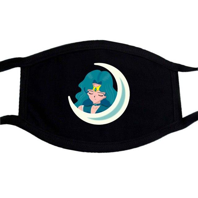 Sailor Moon Cartoon Cute Mask Mouth Muffle Face Dustproof Masks Black Casual Keep Warm Masks Anti-dust Japanese Anime Mask 2