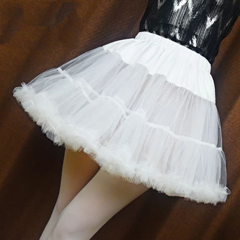 Short Petticoat Tutu-Skirt Puffy No-Hoop Ruffled Girls White-Color Women Bubble Half-Slip