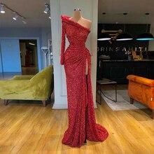 2020 beliebte Lange Hülse der Schulter Formal Abendkleid Rot