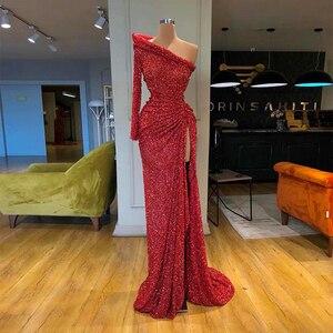 Image 1 - فستان سهرة شعبي بكتف واحد وأكمام طويلة موضة 2020 لون أحمر