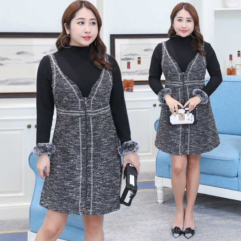 Winter New Products Large GIRL'S Plus-sized WOMEN'S Dress Korean-style Slimming Two-Piece Dress Wholesale On Behalf Of 6509