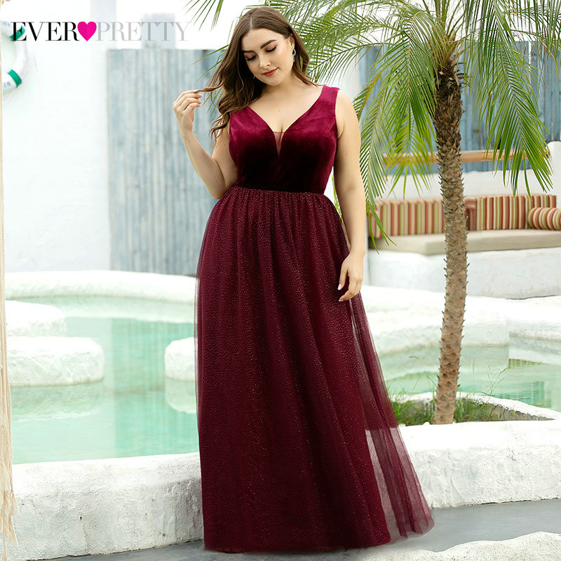Plus SIze Burgundy Prom Dresses Ever Pretty Velour A-Line Double V-Neck Sleeveless Tulle Elegant Formal Dresses Gala Jurken 2020