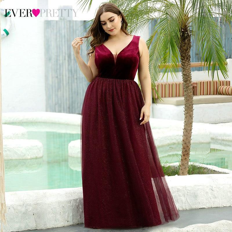 Plus SIze Burgundy Prom Dresses Ever Pretty Velour A-Line Double V-Neck Sleeveless Tulle Elegant Formal Dresses Gala Jurken 2020