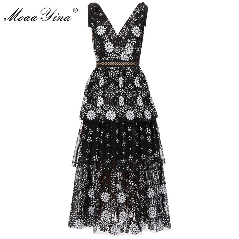 Image 4 - MoaaYina V neck Women dress Fashion Sexy Backless flower Female Sequins Tiered Midi dressDresses