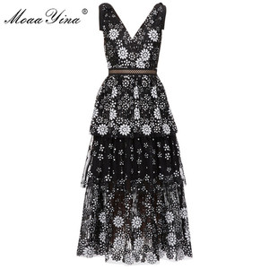 Image 4 - MoaaYina V neck Women dress Fashion Sexy Backless flower Female Sequins Tiered Midi dress