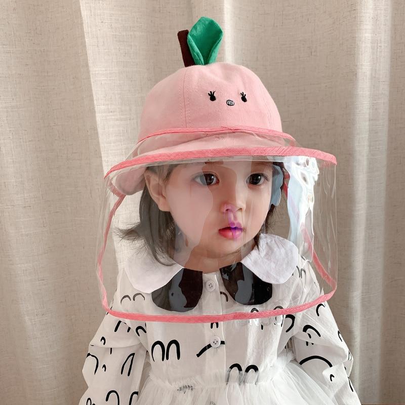 Детская стандартная шляпа, головные уборы, съемная маска, защита от слюны, Пыленепроницаемая двойная Солнцезащитная шляпа, детская розовая ...