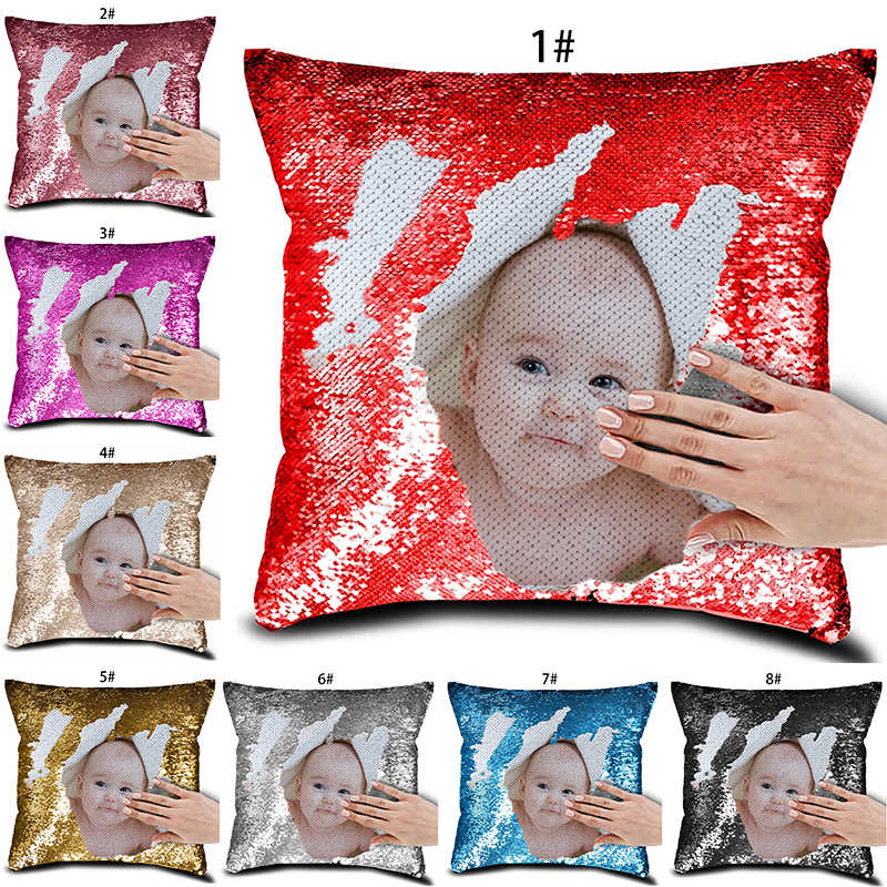 fuwatacchi customized sequin cushion cover photo printed pillow covers for home sofa decorative throw pillowcase 40 40cm