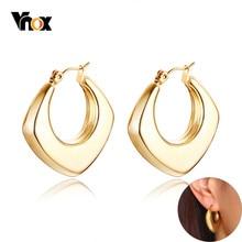 Vnox Vintage Geometrische Hoop Ohrringe für Frauen Chic Glänzend Edelstahl Candid Dame Schmuck