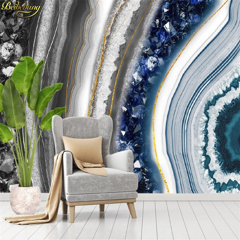 Beibehang Custom Modern Crystal Marble Wallpapers For Living Room Agate Slice TV Background Wallpaper 3D Photo Mural Wall Paper