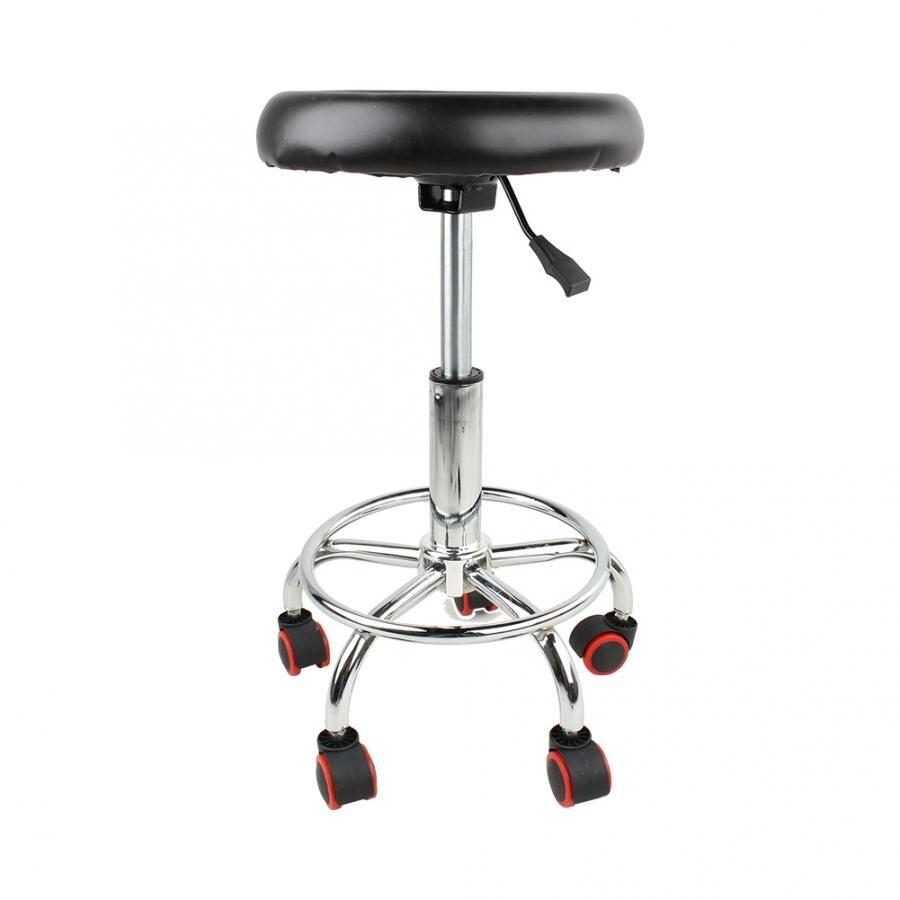ความสูงปรับ Salon Rolling Swivel Stool Tattoo นวดสปาเก้าอี้หมุนสีดำสตูล