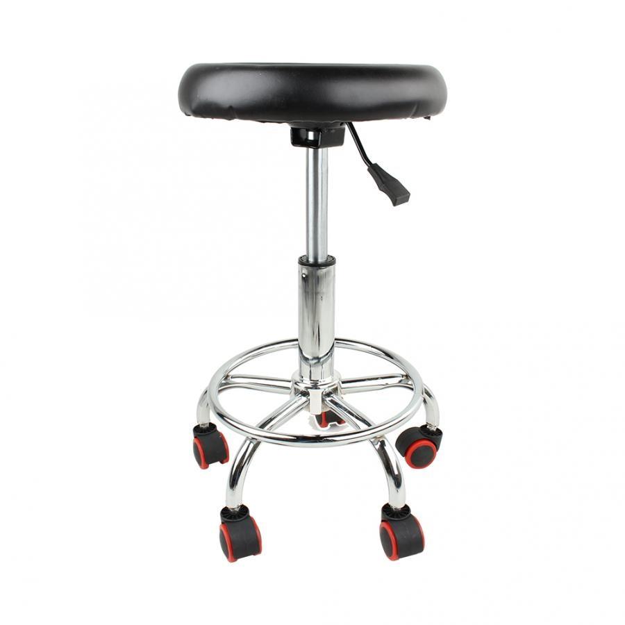 高さ調節可能なサロンローリングスイベルスツールタトゥーマッサージスパ椅子黒スイベルスツール