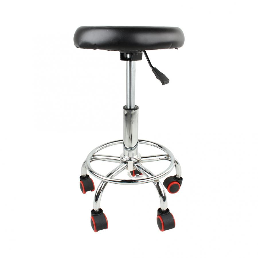 Tinggi Disesuaikan Salon Rolling Swivel Stool Tato Pijat Spa Kursi Hitam Swivel Stool title=