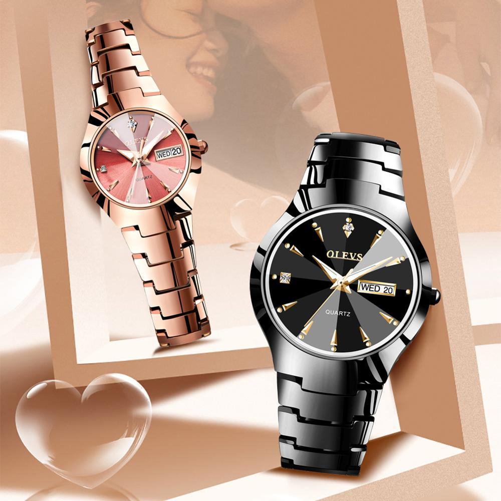 Couple Watches Pair Men And Women Fashion Stainless Steel Lovers Watch Luxury Quartz Wristwatch Calender Week Reloj Mujer Hombre