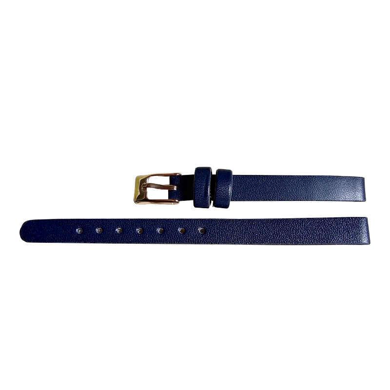 שעון כחול להקת עבור נשים עור עם עלה זהב אבזם רצועת אביזרי עבור פשוט רך רגיל שעון להקת החלפה 8mm