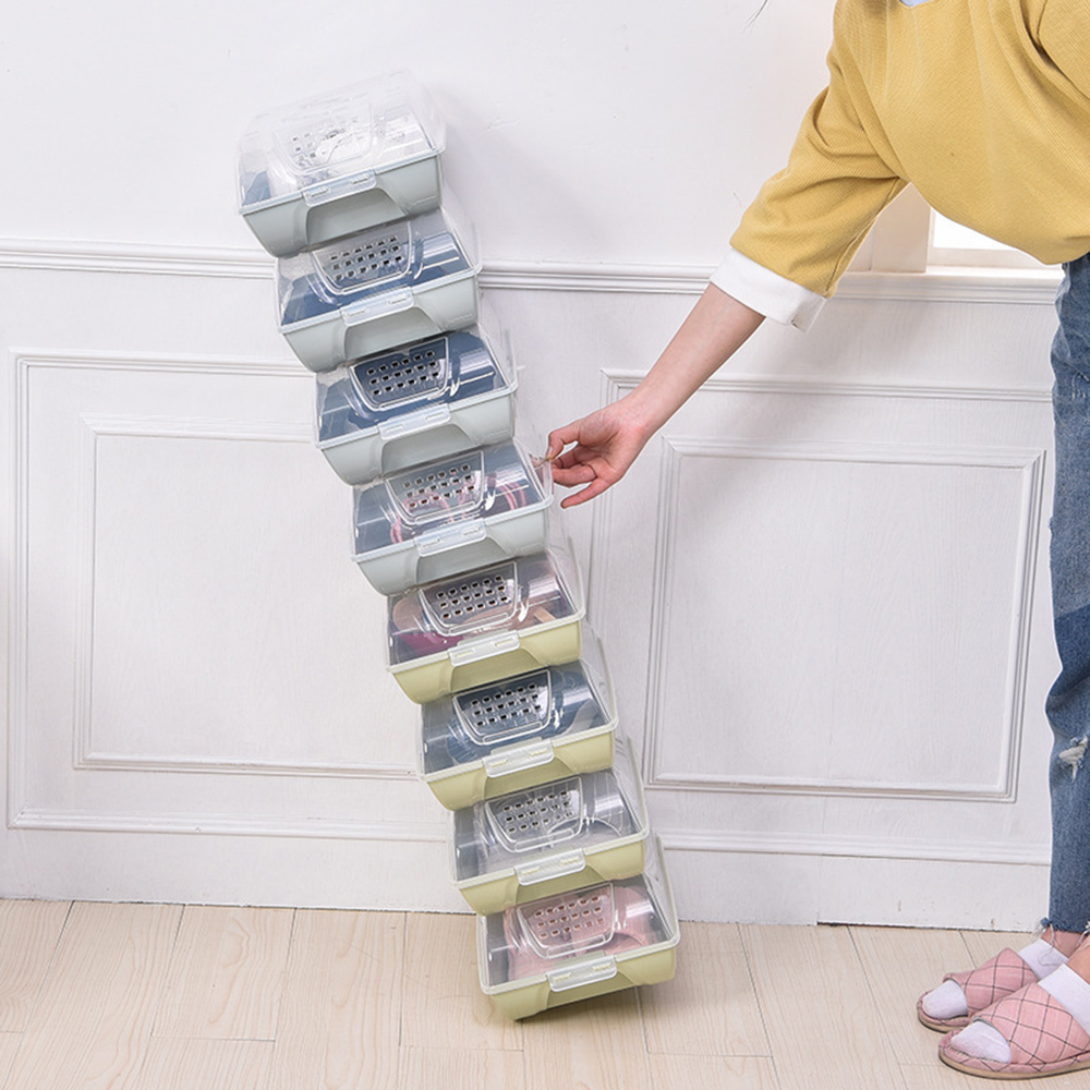 Shoe Rack Household Plastic Transparent Cover Shoe Box Thickened Breathable Resistant Flip Cover Portable Stackable Shoe Box