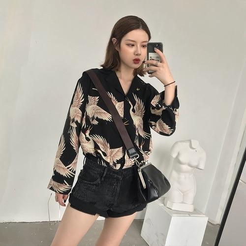 Vintage Printed Fashion Women Blouses 2020 women Long Sleeve Shirts print Chiffon blouse women ladies Loose Femme top 0845 30 Women Women's Blouses Women's Clothings cb5feb1b7314637725a2e7: Camel