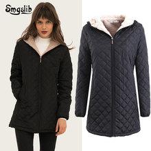 купить 2019 Winter Jacket Women Thick Warm Hooded Parka Mujer Cotton Padded Coat Long solid zipper Plus Size 3xl Slim Jacket Female дешево