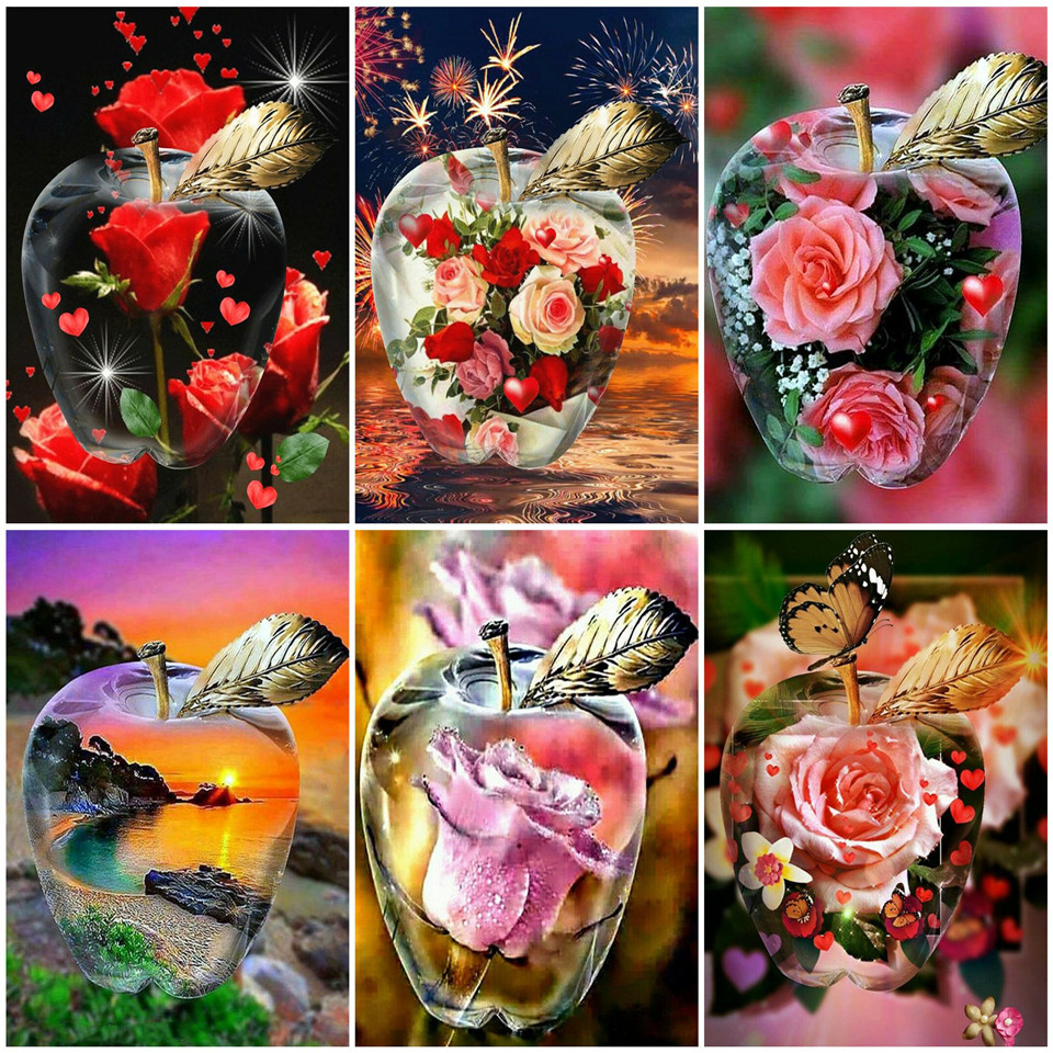 MomoArt Diamond Embroidery Flowers 5D DIY Picture of Rhinestones Full Square Diamond Mosaic Rose Red Wall Art