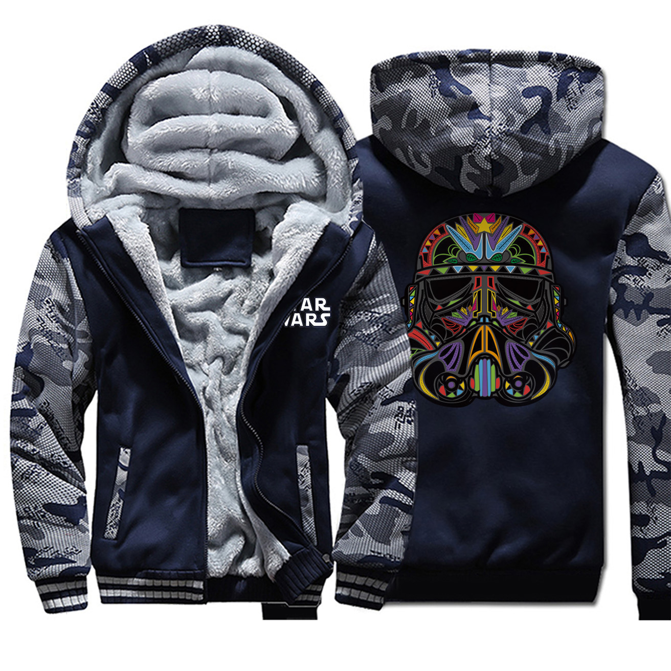 Star Wars Jackets Men Darth Vader Hoodies Sweatshirt Winter Thick Feece Zipper Coats Sportswear Camouflage Starwars Plus Size