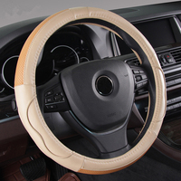 2018 New Design Genuine Leather Car Steering Wheel Cover 38cm Universal Anti slip Auto Steering Cover Case Breathable Beige