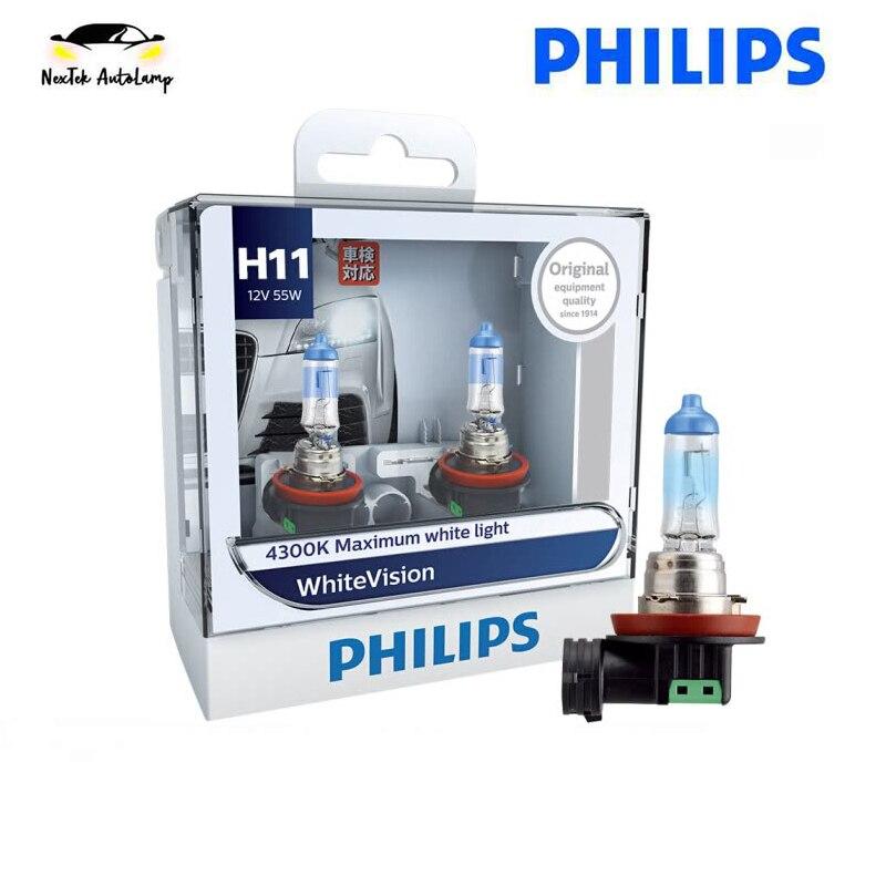 Philips White Vision H11 12V 55W 12362WHV 4100K Car Halogen Headlight Yellow Light