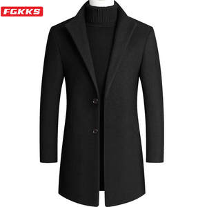 FGKKS Wool Coat Slim-Fit Camel Autumn Winter Men Blends Men's Casual New 4xl Mid-Length
