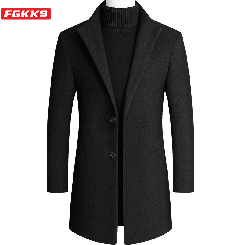FGKKS Men's Camel Wool Coat Autumn Winter Men New Slim Fit Warm Coats Solid Color Casual Mid-Length Wool Blends Mens Coats 4xl
