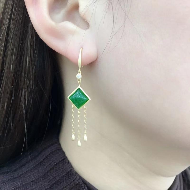 Jadery 24k plaqué or 925 boucles d'oreilles en argent Sterling pour les femmes naturel jaspe Jade pierres précieuses émeraude boucles d'oreilles beaux bijoux cadeaux