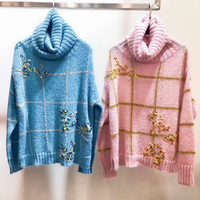 Autumn Women Knitted Turtleneck Sweater Casual Soft polo neck Jumper Fashion Flower Pullovers