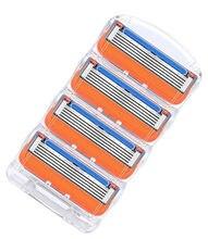 4 unidades/pacote lâmina de barbear para homens cuidado facial barbear segurança, 5 camadas aço inoxidável shaver cassette apto para gillettee fusione punho