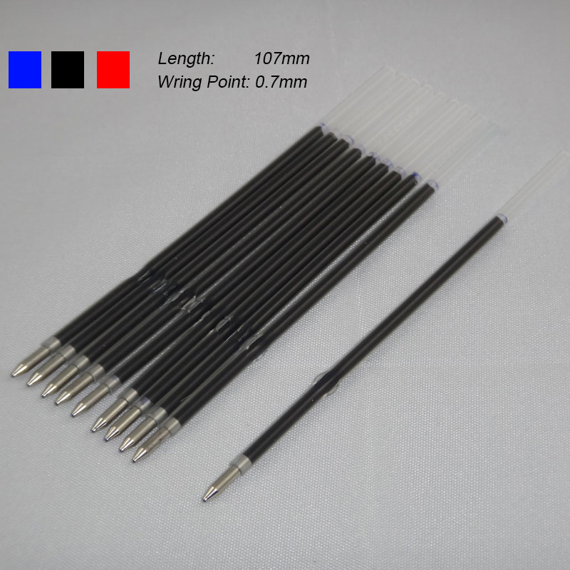 10pcs/lot 0.7mm Pen Rod Stander Ballpoint Pen Refill Lead Black Blue 107mm Office School Supplies