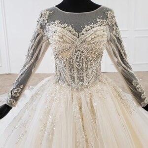 Image 5 - Бальное платье HTL1149, свадебное платье, кружевной корсет с круглым вырезом и шнуровкой на спине, платье невесты с длинным рукавом и бусинами, 2020