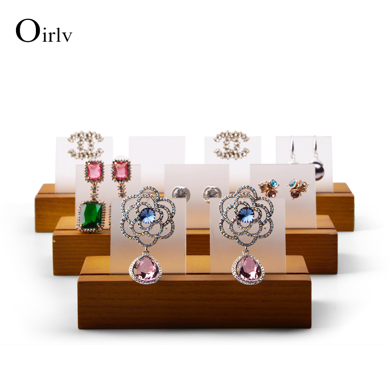 Oirlv Solid Wooden Jewelry Display Ring Earring Holder Exhibition Organizer with Acrylic