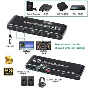 Image 3 - Navceker 18.5 Gbps HDMI Matrix 4x2 4K @ 60Hz HDMI répartiteur de commutateur avec SPDIF et L/R 3.5mm HDR HDMI commutateur 4x2 prise en charge HDCP 2.2 3D