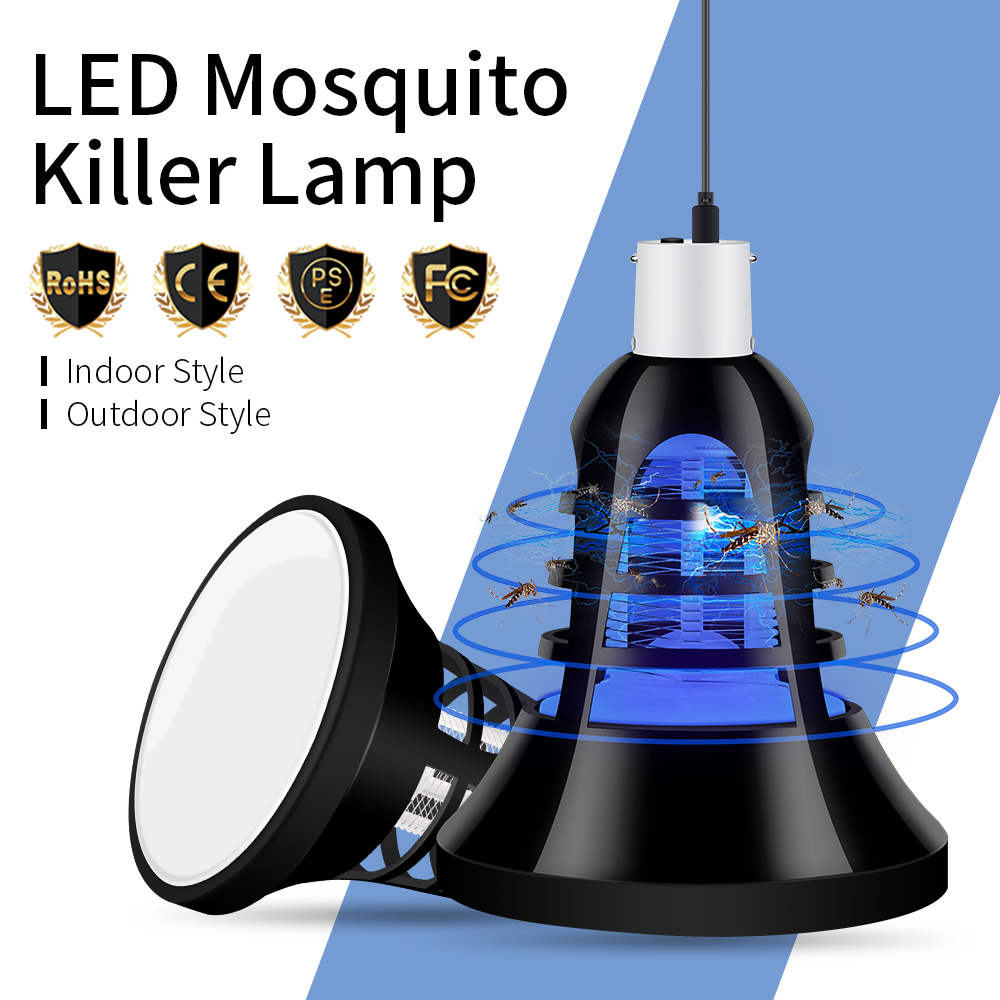 PEIQI E27 USB LED Anti Mosquito Lamp Killer Trap 220V Electric Mosquito Insect Killer 110V LED Fly Bug Zappe Light For Home 5V