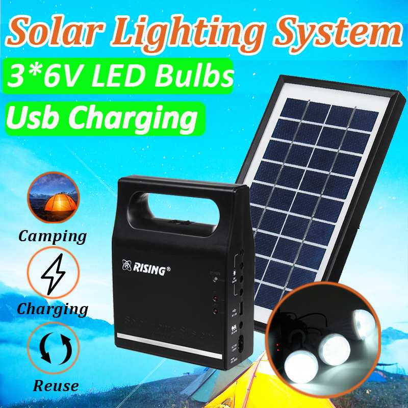 Solar Power Panel Generator Kit 6V USB Charger Home Solar Lighting System With 3 LED Bulbs Light Indoor/Outdoor Lighting